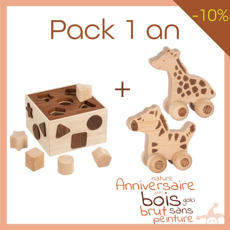 Pack 2 jouets en bois bébé 1 an en bois brut - PROMO Goki Nature