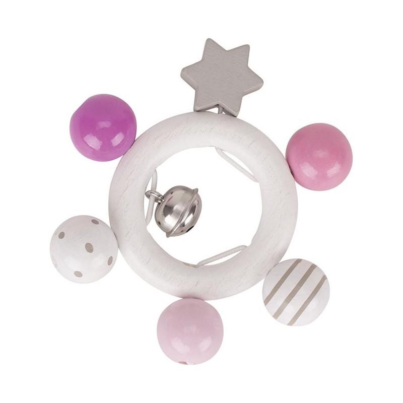 Hochet rose en bois - étoile - Goki Heimess| Bambin Bois, jeux et jouets en bois