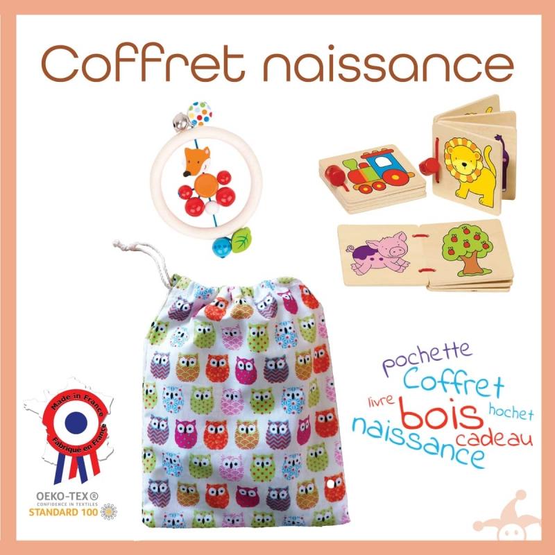 Coffret naissance 100% bois-Hochet+3 livres+Pochette réutilisable