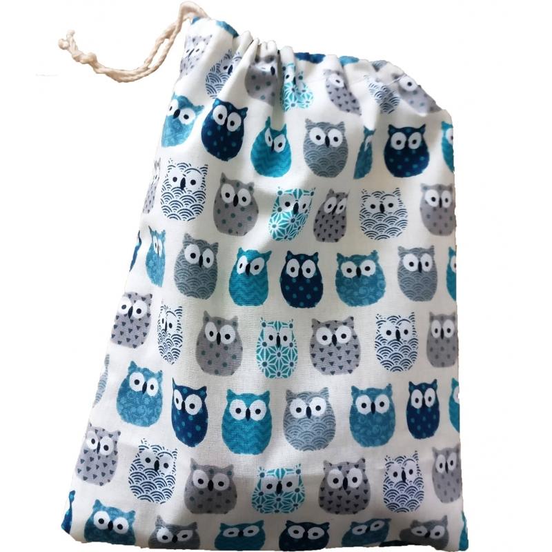 Pochette cadeau réutilisable - Hibou Bleu