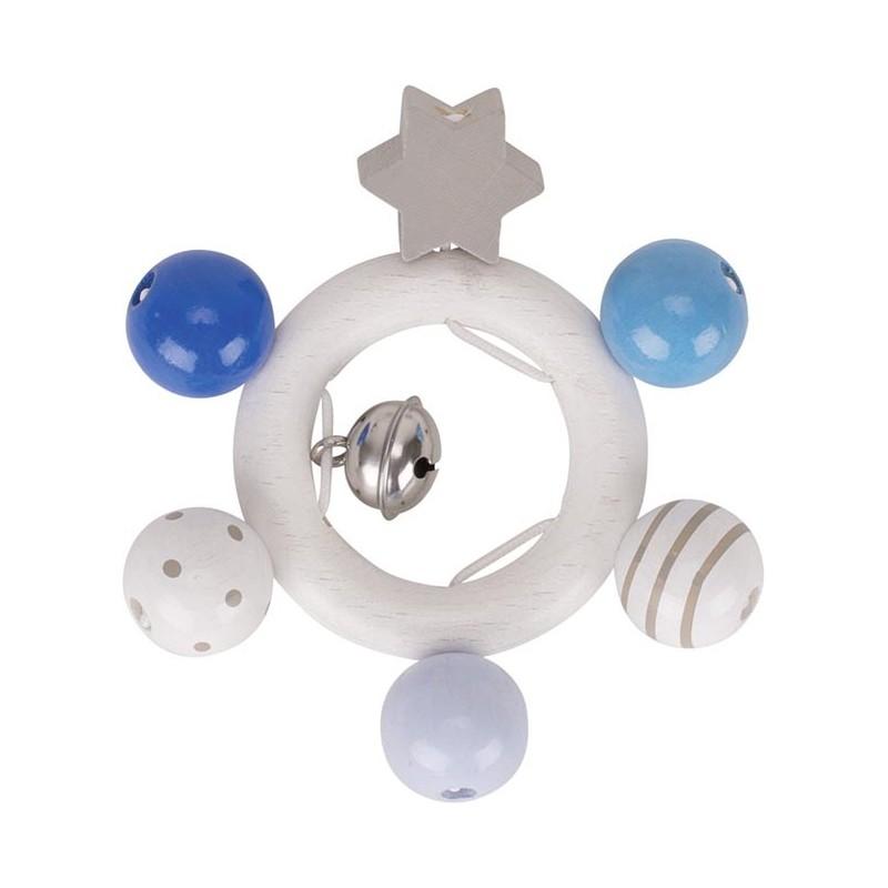 Hochet bleu en bois - étoile - Goki Heimess| Bambin Bois, jeux et jouets en bois