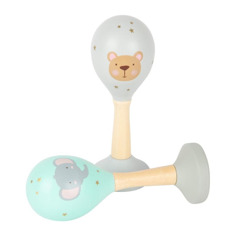 Maracas pour bébé ♫  Instruments de musique en bois pour bébé ♫