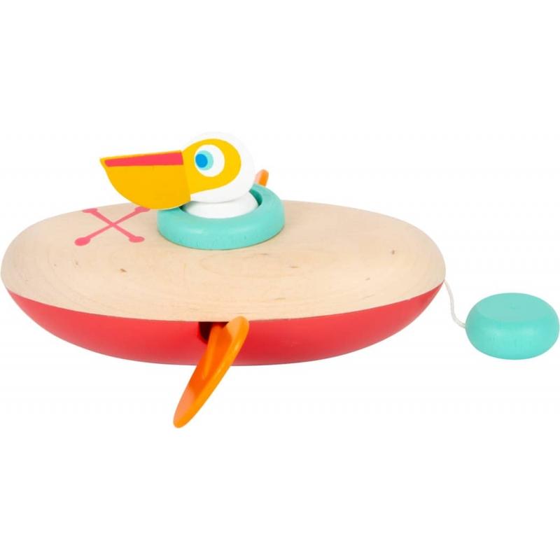 Le pélican en canoë - Jouet pour le bain   Jouet en bois pour l'eau