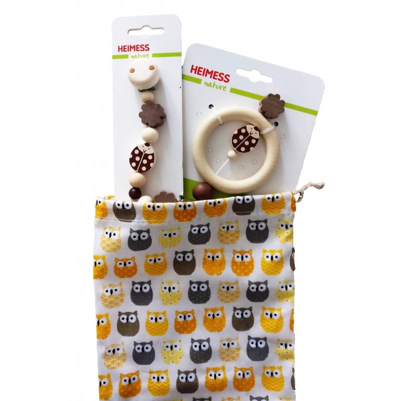 Coffret naissance-Hochet+Attache-tétine+ Pochette cadeau artisanale ☝