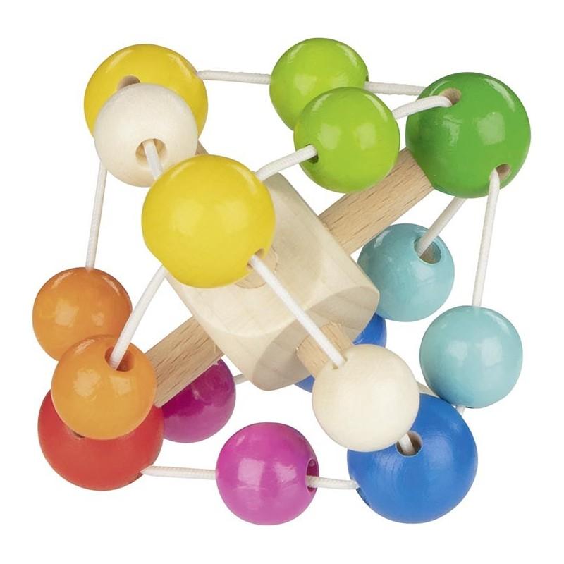 Hochet carré multicolore en bois - Goki Heimess  Bambin Bois, jeux et jouets en bois