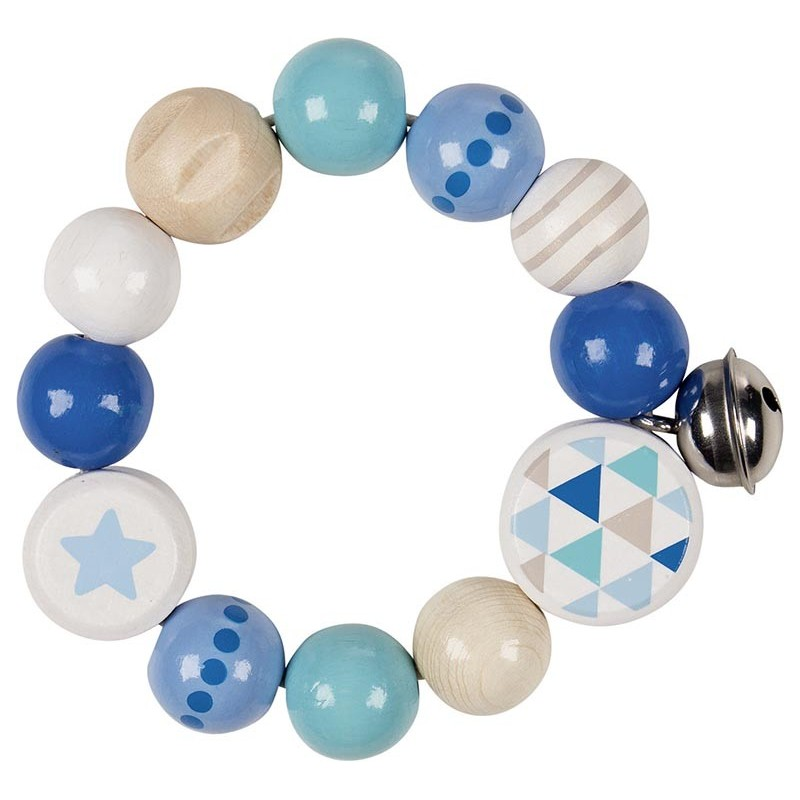 Hochet élastique bois - étoile, bleu - Goki Heimess| Bambin Bois, jeux et jouets en bois