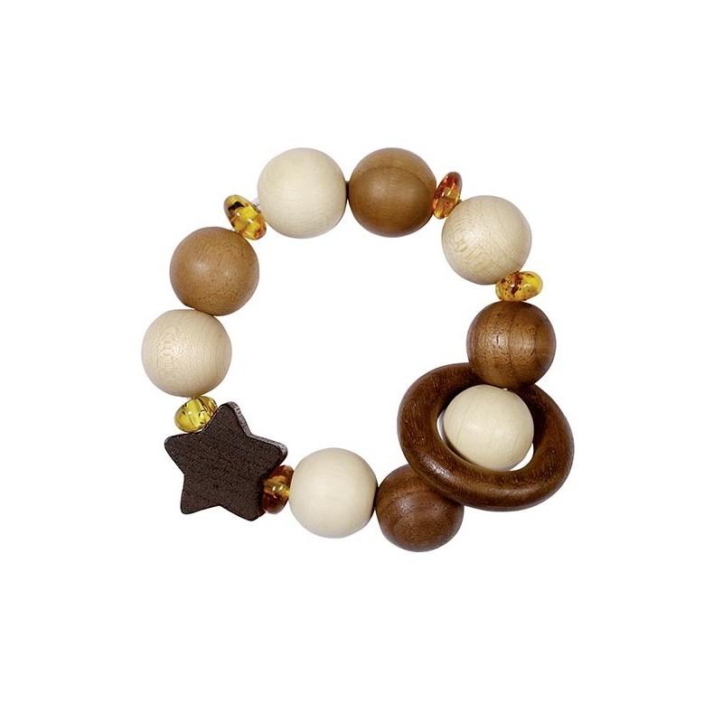 Hochet bois élastique -  étoile et ambre - Goki Heimess| Bambin Bois, jeux et jouets en bois