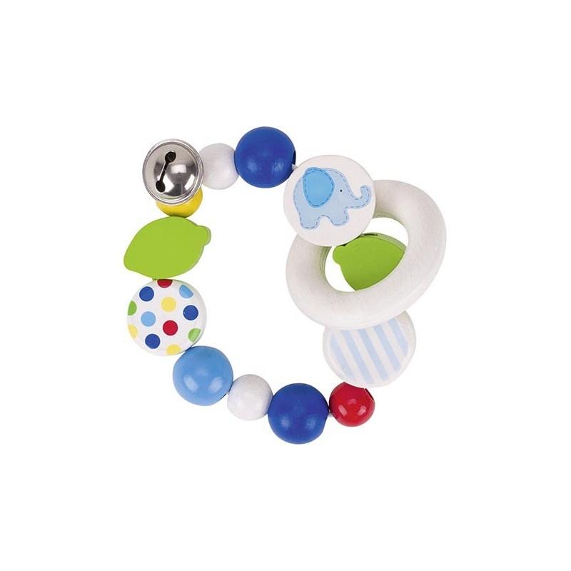 Hochet élastique bois - éléphant bleu - Goki Heimess| Bambin Bois, jeux et jouets en bois