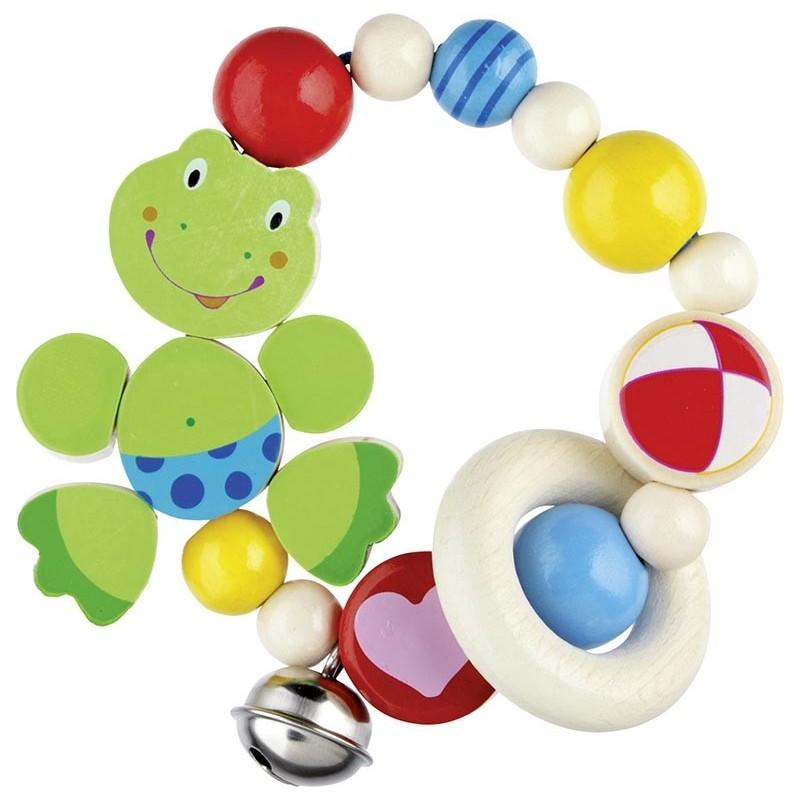 Hochet  bois flexible - grenouille - Goki Nature Heimess| Bambin Bois, jeux et jouets en bois