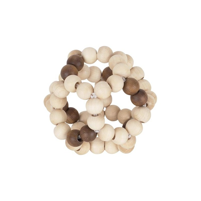 Hochet bois brut -balle élastique - Goki Nature Heimess| Bambin Bois, jeux et jouets en bois