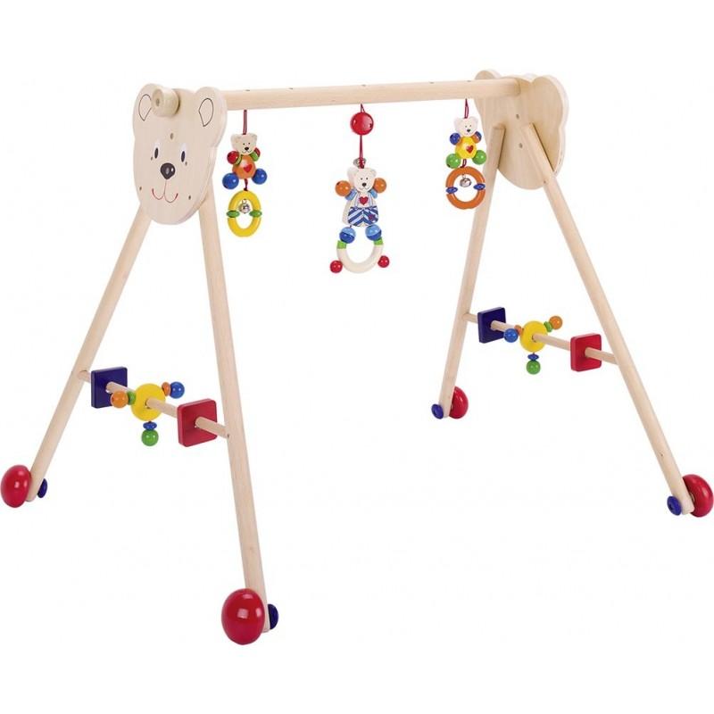 Portique d'activités avec roulettes - ourson petit coeur - Goki Heimess  Bambin Bois, jeux et jouets en bois