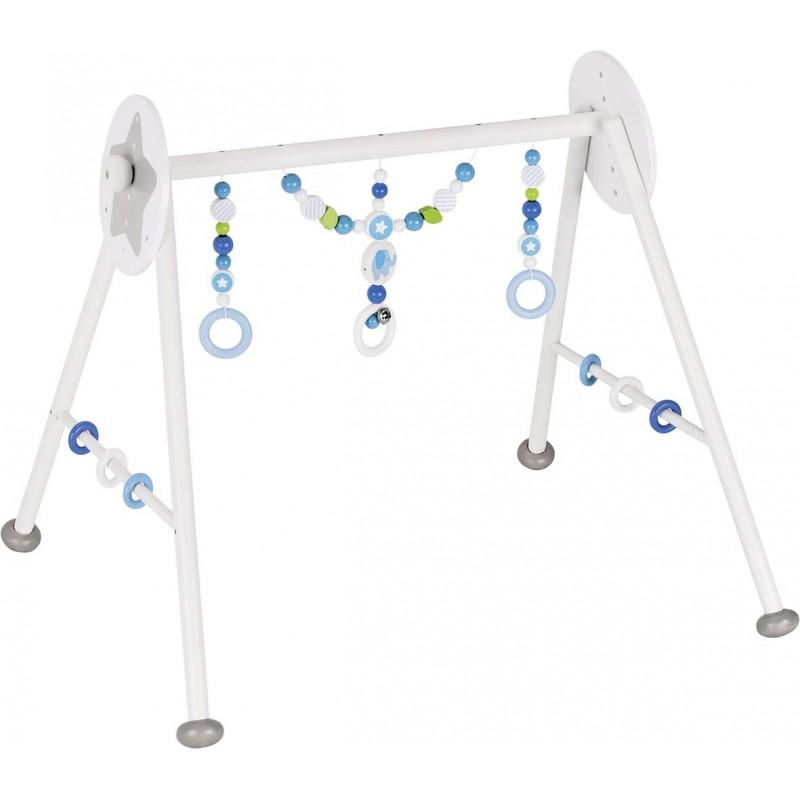 Portique d'activité en bois- éléphant bleu - Goki Heimess| Bambin Bois, jeux et jouets en bois