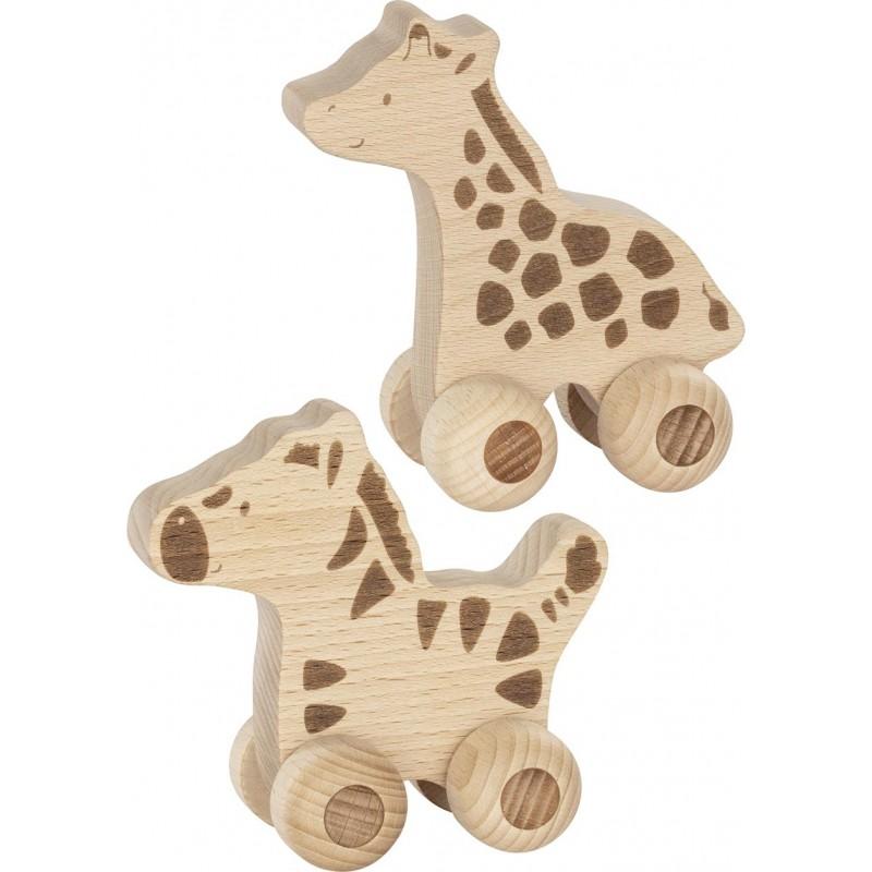 Girafe et zèbre en bois (lot de 2) - Animaux à pousser Safari, goki nature| Bambin Bois, jeux et jouets en bois