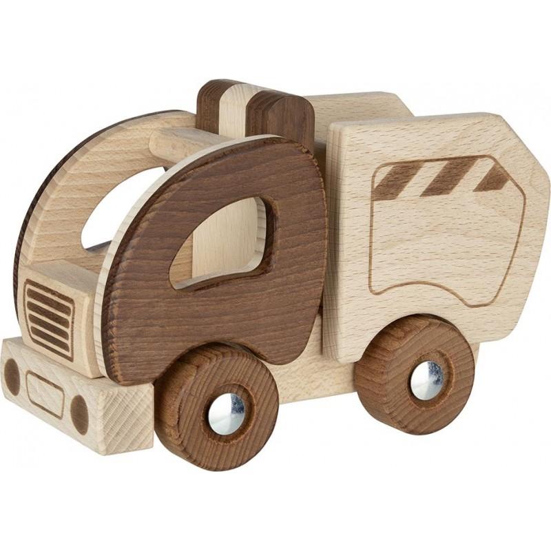 Camion-poubelle en bois - goki nature| Bambin Bois, jeux et jouets en bois