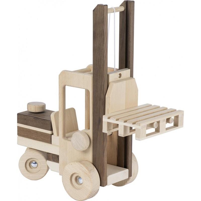 Chariot élévateur en bois - goki nature| Bambin Bois, jeux et jouets en bois