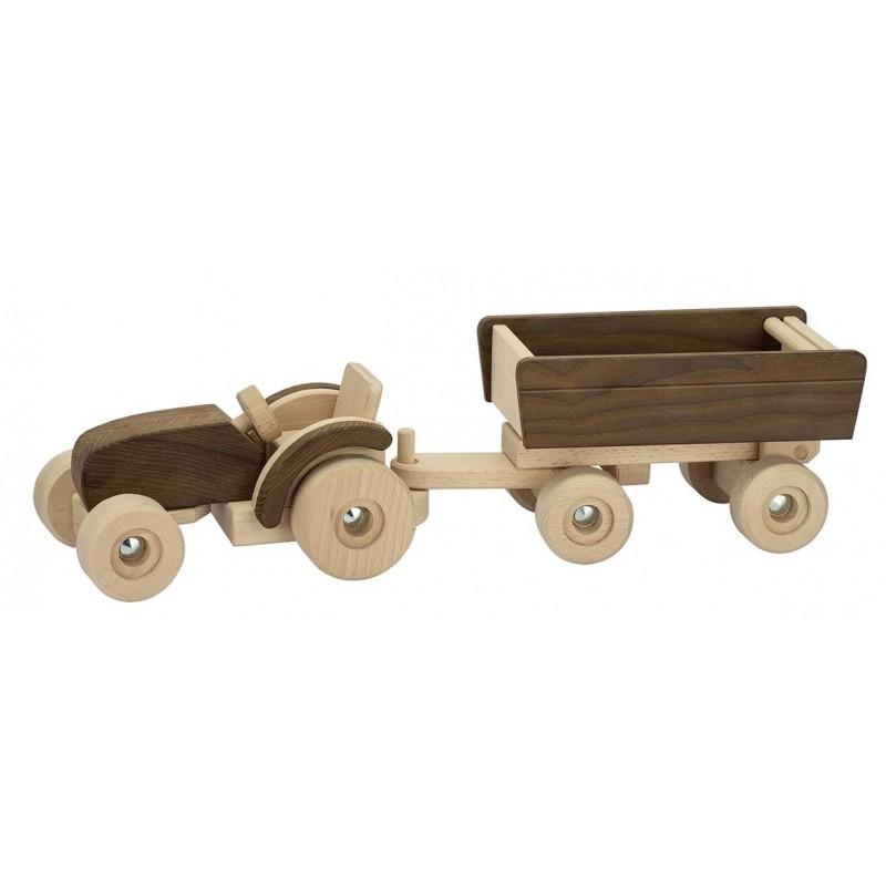 Tracteur avec remorque en bois - goki nature  Bambin Bois, jeux et jouets en bois