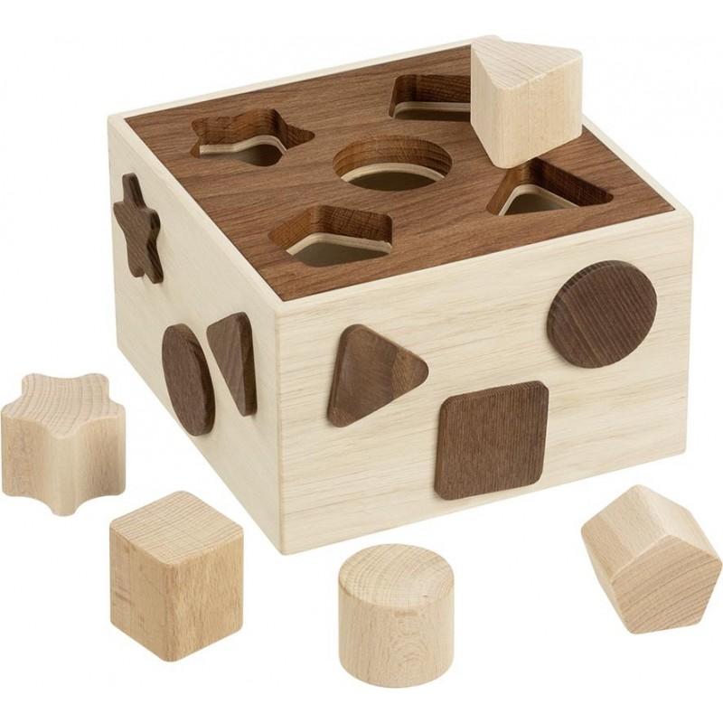 Boîte à formes en bois brut - goki nature| Bambin Bois, jeux et jouets en bois