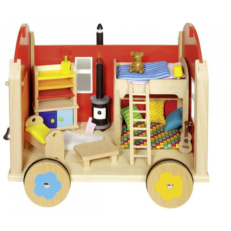 Roulotte pour poupées avec accessoires  Bambin Bois, jeux et jouets en bois