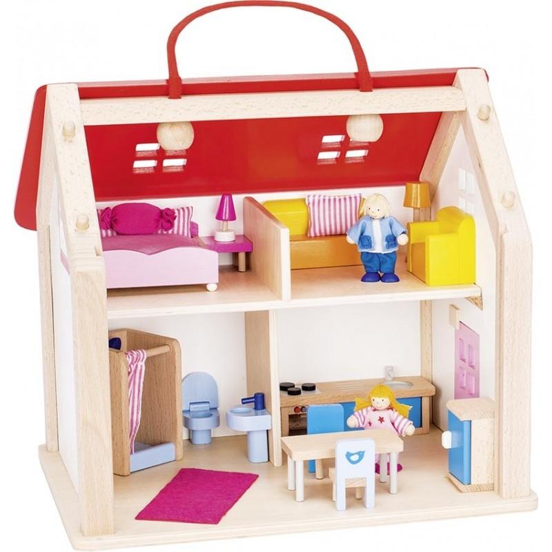 Valise maison de poupées en bois avec accessoires| Bambin Bois, jeux et jouets en bois