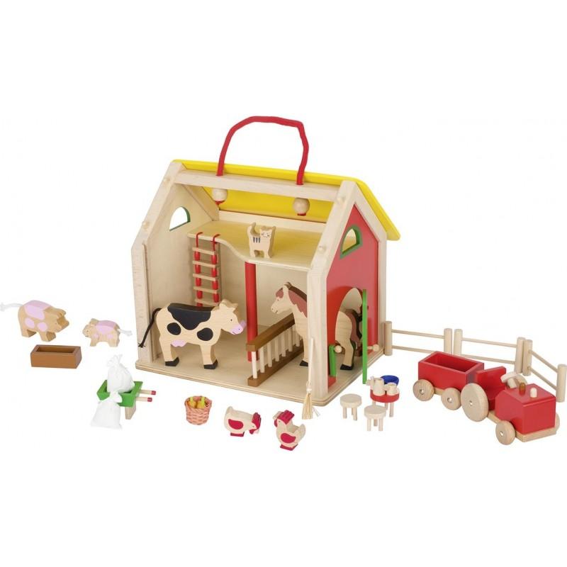 Valise Ferme en bois avec accessoires  Bambin Bois, jeux et jouets en bois