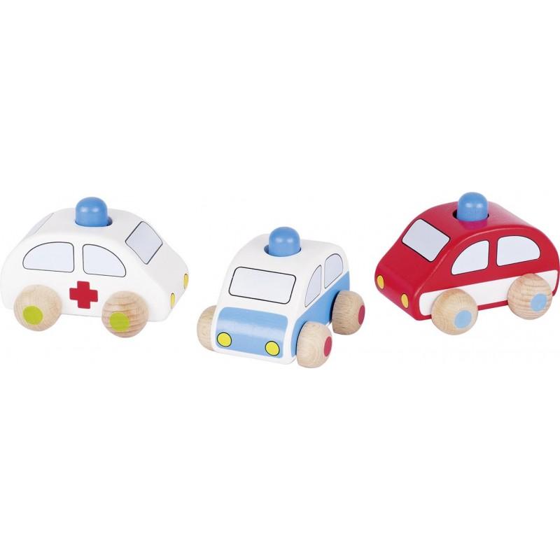 Voitures en bois, police, camion de pompiers, ambulance avec klaxon (lot de 3)| Bambin Bois, jeux et jouets en bois