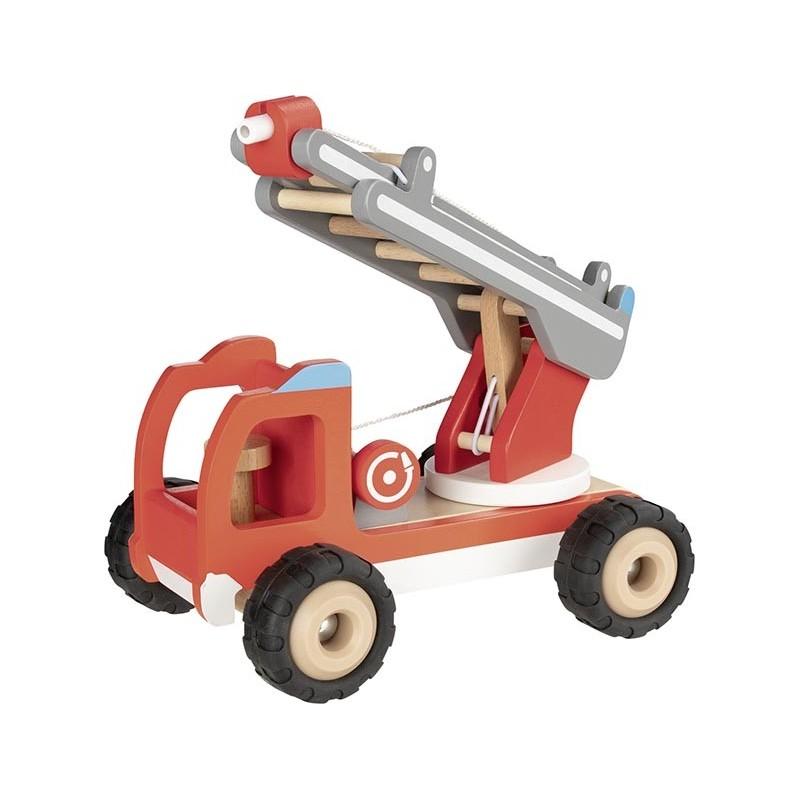 Camion de pompiers avec échelle  Bambin Bois, jeux et jouets en bois