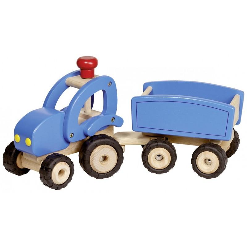 Tracteur en bois avec remorque - Bleu| Bambin Bois, jeux et jouets en bois
