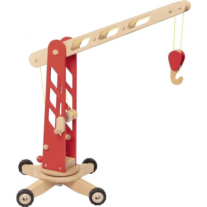 Grue de chantier en bois - rouge| Bambin Bois, jeux et jouets en bois