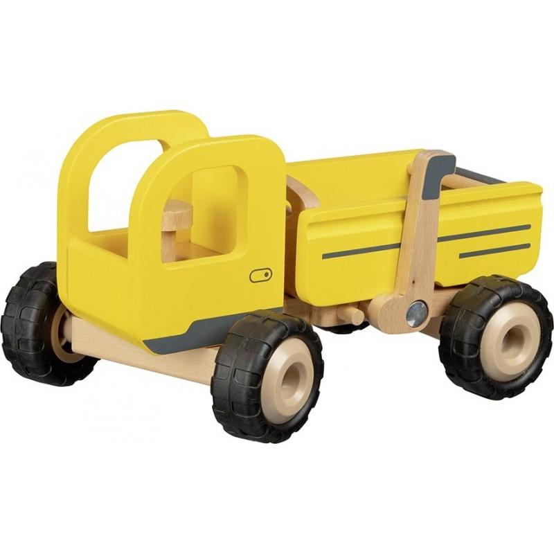 Camion-benne en bois - jaune| Bambin Bois, jeux et jouets en bois