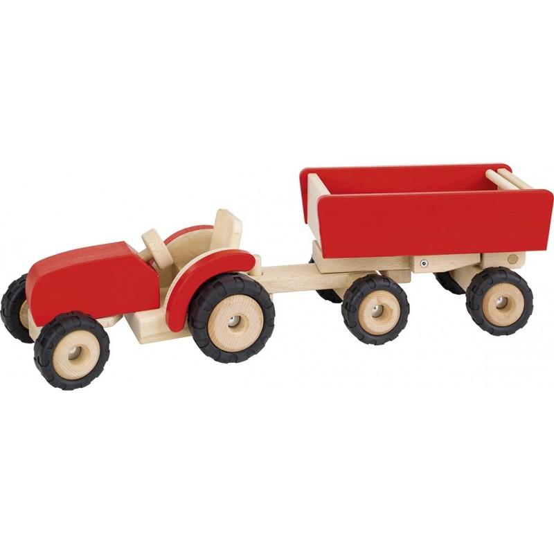 Tracteur en bois avec remorque - Rouge| Bambin Bois, jeux et jouets en bois