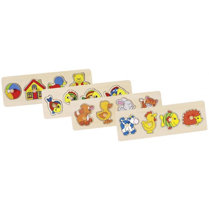 Lot de 4 puzzles en bois 1 | Bambin Bois, jeux et jouets en bois