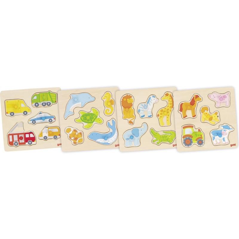 Lot de 4 puzzles en bois 2 | Bambin Bois, jeux et jouets en bois