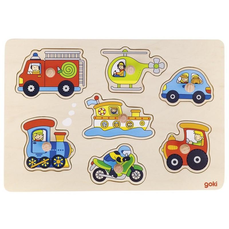 Puzzle bois bébé-véhicules| Bambin Bois, jeux et jouets en bois