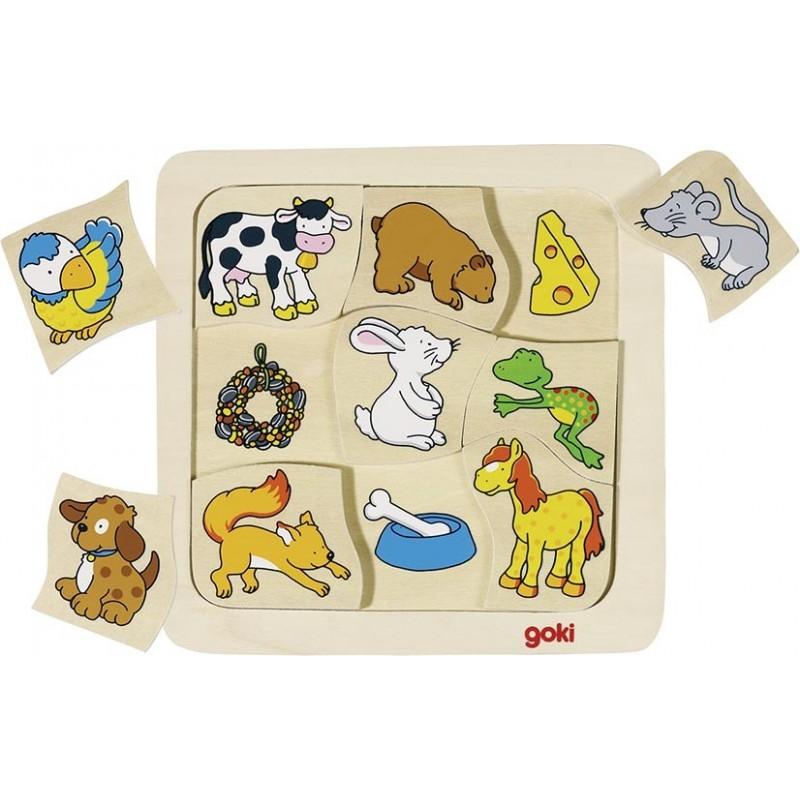 Puzzle bébé bois-qui mange quoi?| Bambin Bois, jeux et jouets en bois