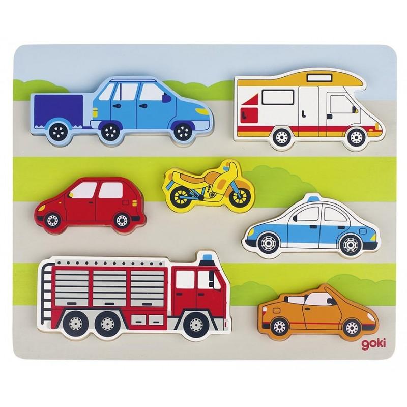 Puzzle bébé bois-Sur la route| Bambin Bois, jeux et jouets en bois