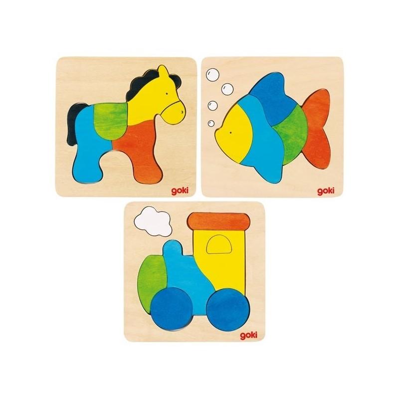 Lot de 3 Puzzle en bois-Cheval, poisson, locomotive| Bambin Bois, jeux et jouets en bois