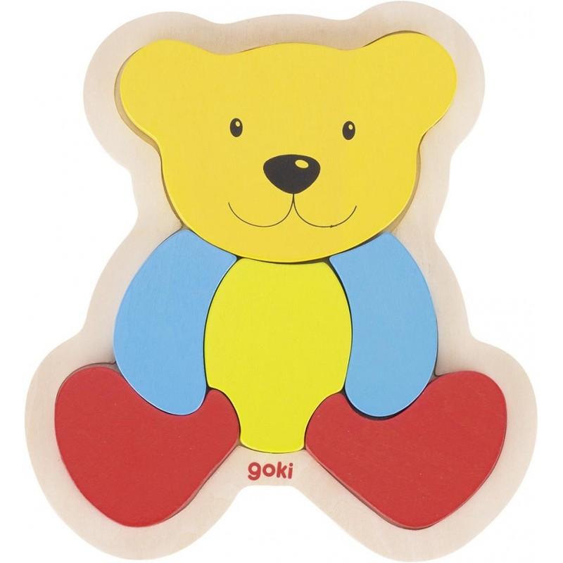 Puzzle 1er age en bois-ours  BAMBIN BOIS