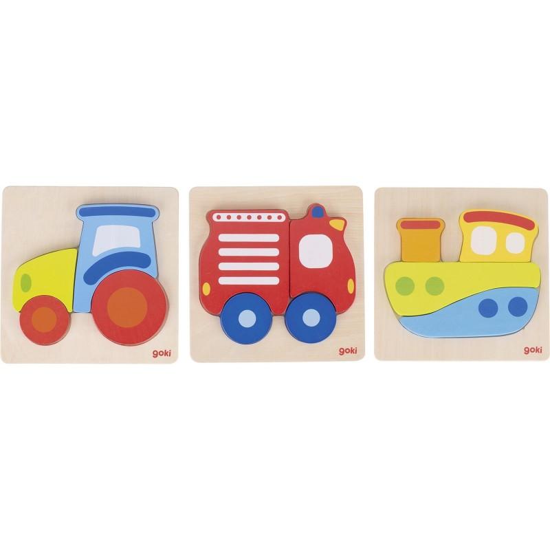 Lot de 3 puzzle tracteur, bateau, camion de pompiers| BAMBIN BOIS
