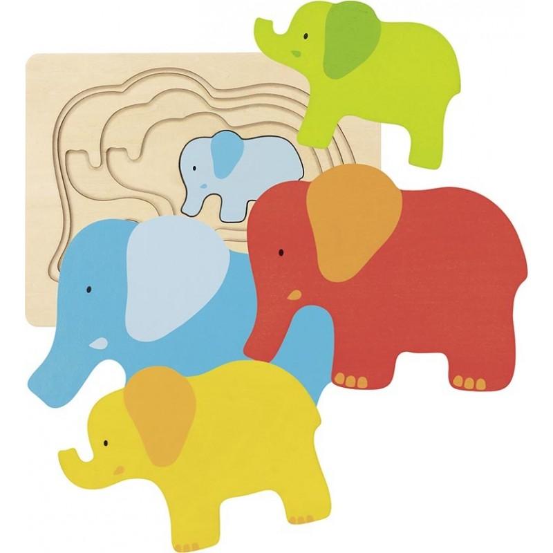 Puzzle à couches-éléphant| BAMBIN BOIS