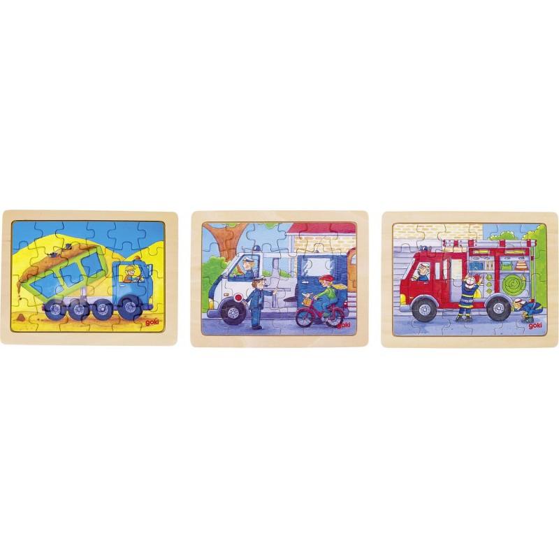 Lot de 3 Puzzles en bois-les métiers| BAMBIN BOIS