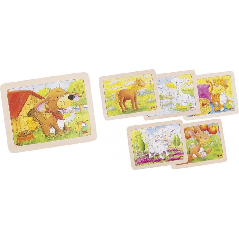 Lot de 6 puzzle en bois-animaux II| BAMBIN BOIS
