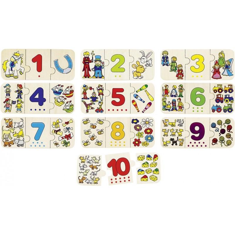 Puzzle Chiffres et associations d'images| BAMBIN BOIS