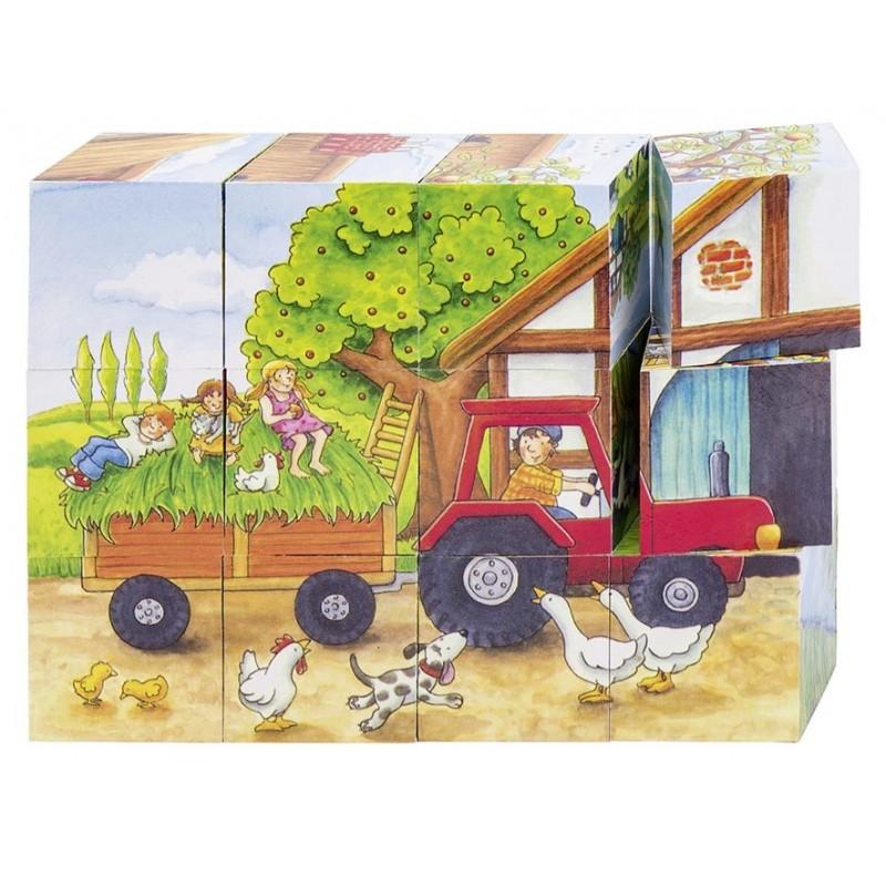 Puzzle de cubes-les saisons à la ferme| BAMBIN BOIS
