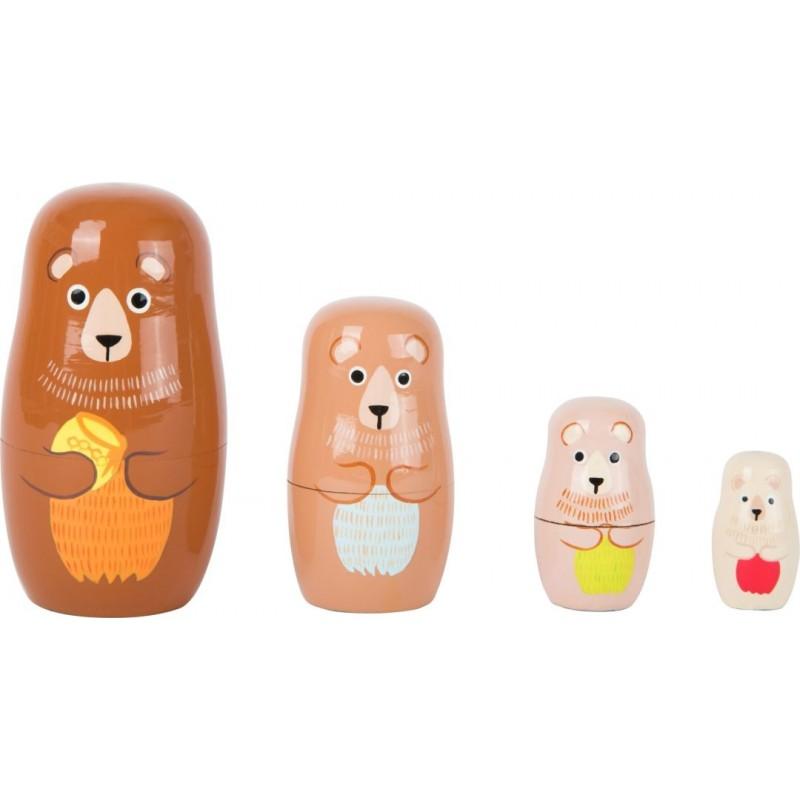 Poupées russes en bois - Famille d'ours-Décoration et cadeaux-Jeux d´adresse et d´équilibre en bois | BambinBois