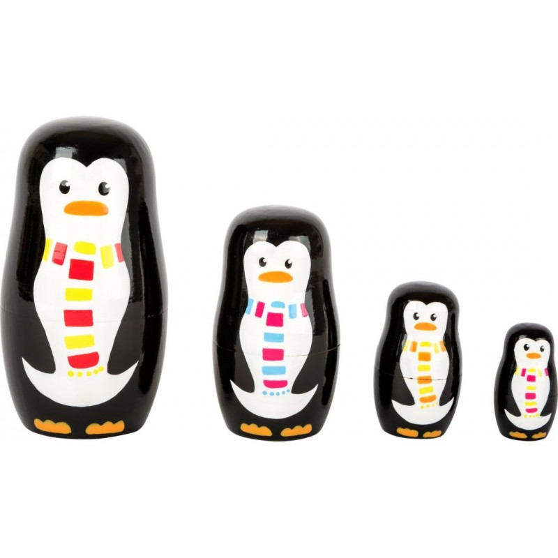 Poupées russes en bois -  Famille de pingouins-Jeux-Anniversaire et cadeaux en bois   BambinBois