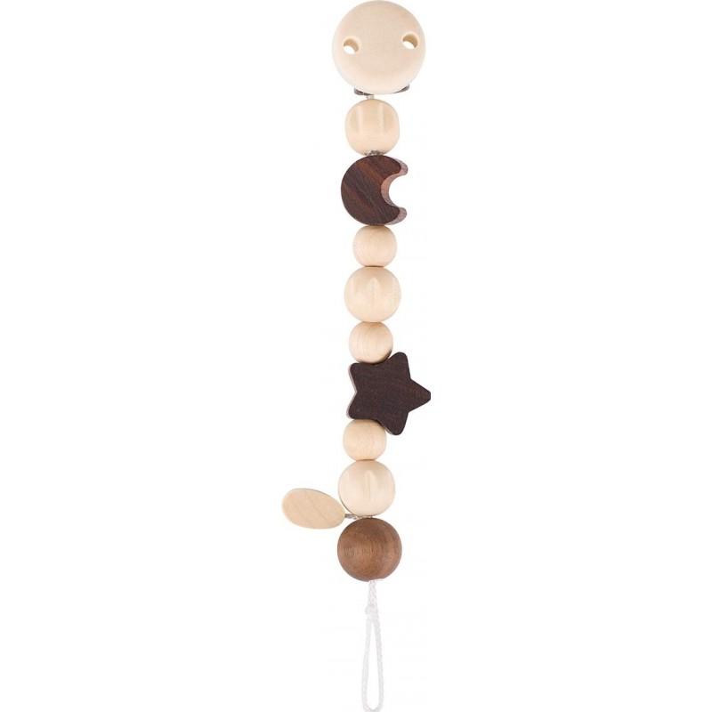 Attache-tetine en bois brut lune et étoile Goki Heimess  Bambin Bois, jeux et jouets en bois
