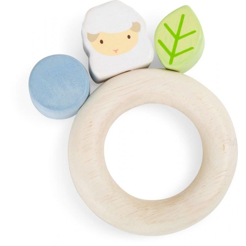 Anneau d´éveil en bois - Agneau-Jouets pour bébé-Jouets d´éveil et hochets en bois | BambinBois