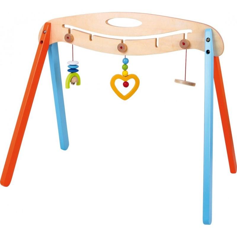 Portique d'éveil en bois - rouge et bleu-Jouets pour bébé-Portiques et tapis d´éveil en bois | BambinBois