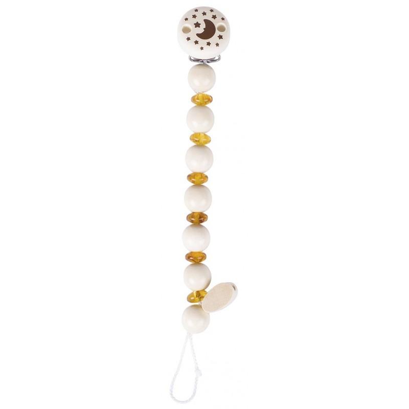 Attache tétine en ambre jaune et bois - Goki Nature Heimess| BambinBois, jeux et jouets en bois