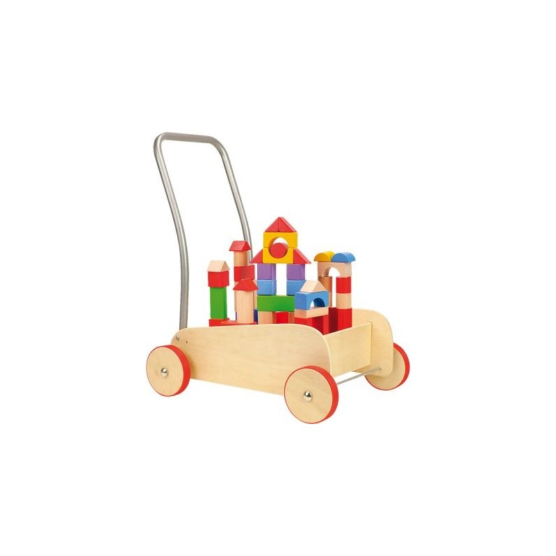 Chariot de marche bois + jeu de construction-Motricité et apprentissage